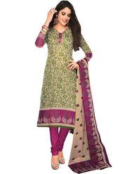 Javuli 100% pure Cotton Printed  Dress material - Green - shree-new218