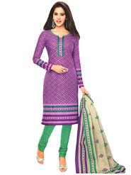 Javuli 100% Pure Cotton Printed  Dress Material - Purple - Shree-new229