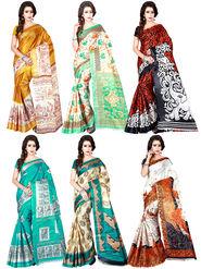 Pack of 6 Shonaya Printed Taffeta Saree -oct07