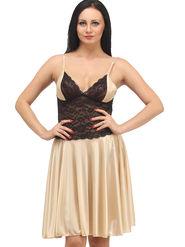 Klamotten Satin Solid Nightwear - Beige - YY06