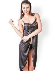 Klamotten Satin Solid Nightwear - Black - YY41