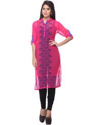 Lavennder Printed Georgette Pink Kurti _L-623592