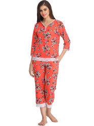 Clovia Printed Blended Polycotton Orange Top & Capri Set -Lsw068P16