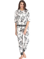 Clovia Printed Scuba White Top & Pyjama Set -Lsw070P18