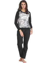 Clovia Printed Fleece Grey Top & Pyjama Set -Lsw074P05