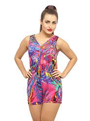 Ladybug Printed Polyester Dress - Fuschia & Purple
