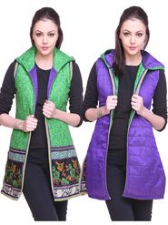 Lavennder Cotton Quilt Reversible Jacket - Green and Purple