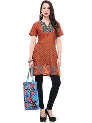 Lavennder Cotton and Dupion Silk Embroidered Kurti with Tote Bag - LK-62021