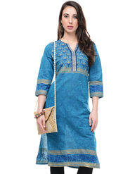Lavennder Cotton and Dupion Silk Printed Kurti with Sling Bag - LK-62022