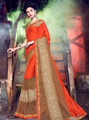 Indian Women Embellished Chiffon Orange & Brown Designer Saree -Mg12501