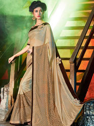 Indian Women Embellished Silk Gold Designer Saree -Mg12506