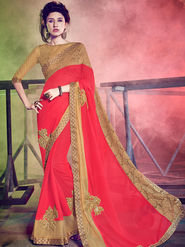 Indian Women Embellished Georgette Red Designer Saree -Mg12512