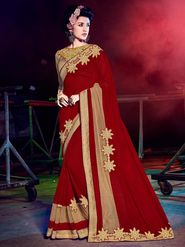 Indian Women Embellished Georgette Red Designer Saree -Mg12514