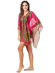 Fasense Printed Polyester Wine Beach Wear -MM001C2