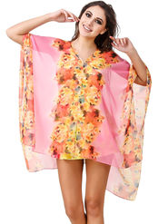 Fasense Printed Polyester Pink Beach Wear -MM002A2