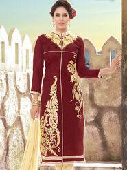 Viva N Diva Chanderi Silk Embroidered Unstitched Dress Material Mariyaam-1011