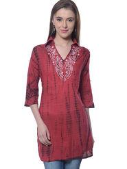 Meira Cambric Embroidered Kurti - Maroon - MEKUR-2013-Maroon