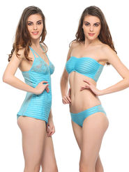 Clovia Polyamide Striped Nighty Bra & Brief -NS0308P03
