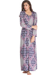 Clovia Printed Woolen Blue Winterwear Long Nighty -Nsw750P08