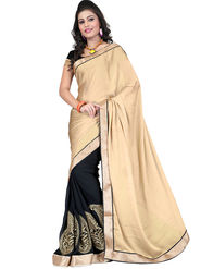 Nanda Silk Mills Chiffon Embroidered Saree - Black - 2mandi-A