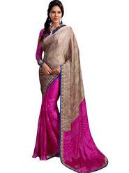 Nanda Silk Mills Printed  Chiffon Saree - Pink-SANSKRUTI4007-B