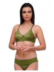 Oleva Cotton Plain Bikini Set - Green