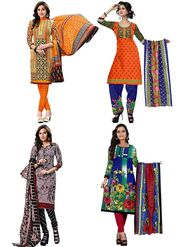 Pack of 4 Priya Fashions Printed Cotton Unstitched Dress Material -PF4S01
