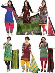 Pack of 6 Priya Fashions Printed Cotton Unstitched Dress Material -PF6S01