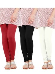 Pack of 3 Oh Fish Solid Cotton Stretchable Leggings -zwe62