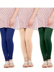 Pack of 3 Oh Fish Solid Cotton Stretchable Leggings -zwe79