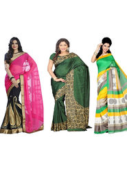 Combo of 3 Nanda Silk Mills Printed and Embroidered Saree -Pd-4017