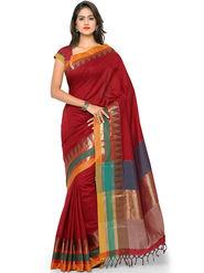 Nanda Silk Mills Handloom Red Plain Cotton Silk Saree -nad21