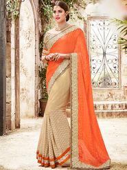 Indian Women Embroidered Satin Chiffon Orange & Beige Saree -Ra21014