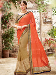 Indian Women Embroidered Moss Chiffon Orange & Beige Saree -Ra21025