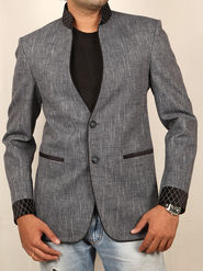 Runako Solid Regular Full Sleeves Party Wear Blazer For Men - Grey
