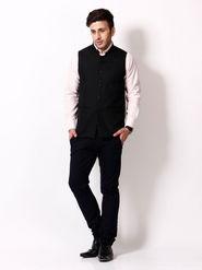 RPB Lined Cotton Nehru Jacket - Black - 12436051