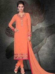 Viva N Diva Georgette Embroidered Semi Stitched Suit Rihanaa-1109