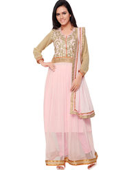 Florence Georgette Embroidered Semi-Stitched Dress Material  Sb-3165