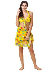 Combo of 3 Fasense Printed Polyester Yellow Swimsuit -SH003C1