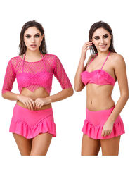 Combo of 3 Fasense Solid Polyester Pink Swimsuit -SH005A1