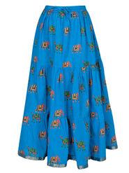 Amore Printed Cotton Skirt -Skv032Lb