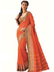 Nanda Silk Mills Plain Cotton Orange Saree -Saffron
