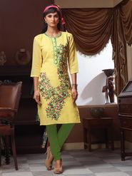 Viva N Diva Poly Linen Floral Embroidery Kurtis -Senorita-Again-7543
