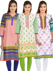 Set of 3 Cotton Jaipuri Printed Kurtis - By Manukunj