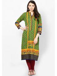 Shree Cotton Printed Kurti - Green - 14385/A
