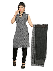 Silkbazar Printed Cotton Dress Material - Black