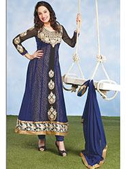 Silkbazar Embroidered Pure Georgette Anarkali Semi-Stitched Dress Material - Blue-SB-1349