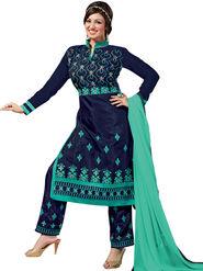 Thankar Semi Stitched  Chanderi Silk Embroidery Dress Material Tas308-6101
