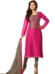 Thankar Thread & Zari Embroidered & Mirror Work Chanderi Cotton Semi Stitched Straight Suit -Tas386-89005