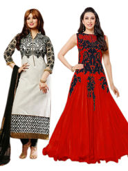 Combo of 2 Thankar Embroidered Black Cotton Red Net Semi Stitched Suit & Gown
